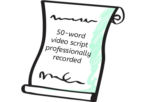 50-word video script -  professionally recorded
